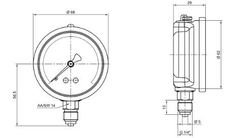 ابعاد مانومتر پکنز عمودی روغنی صفحه 6 سانت