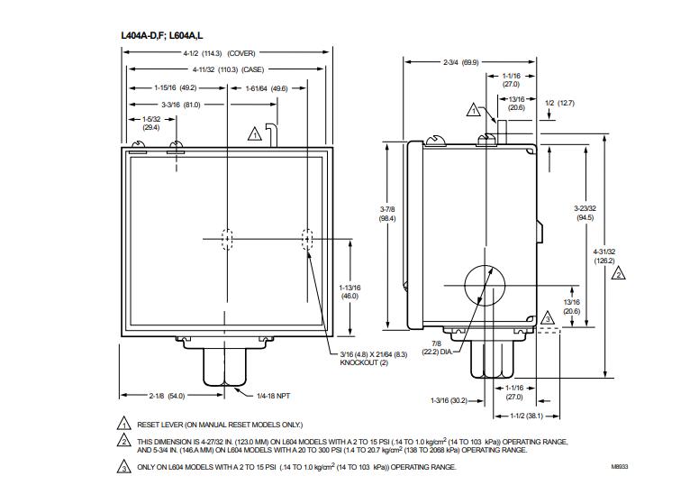 ابعاد پرشر سوئیچ  هانیول ON/OFF مدل L404F1094