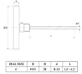 ابعاد ترمومتر تی جی TG  صفحه 10 سانت افقی سری TB100