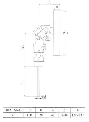 ابعاد ترمومتر تی جی TG تمام استیل صفحه 10 سانت TB320
