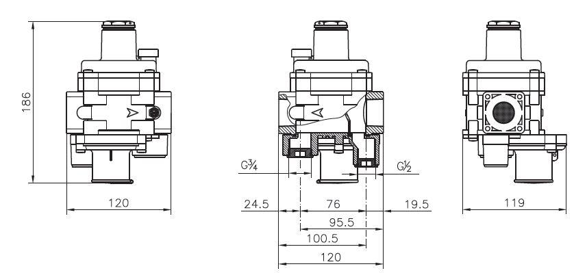 """ابعاد رگولاتور گازی ماداس دنده ای سایز """"1 مدل FRG/2MBCZ"""
