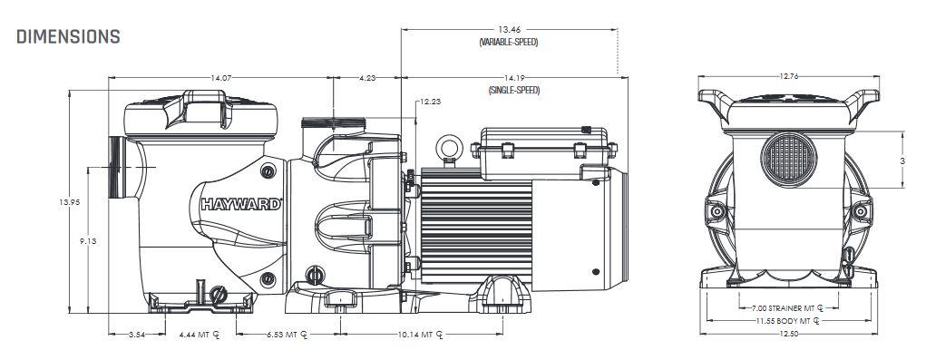 ابعاد پمپ جکوزی هایوارد مدل HCP 3000