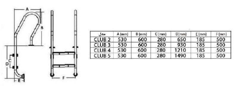 ابعاد نردبان و پله استخر هایپرپول مدل Club