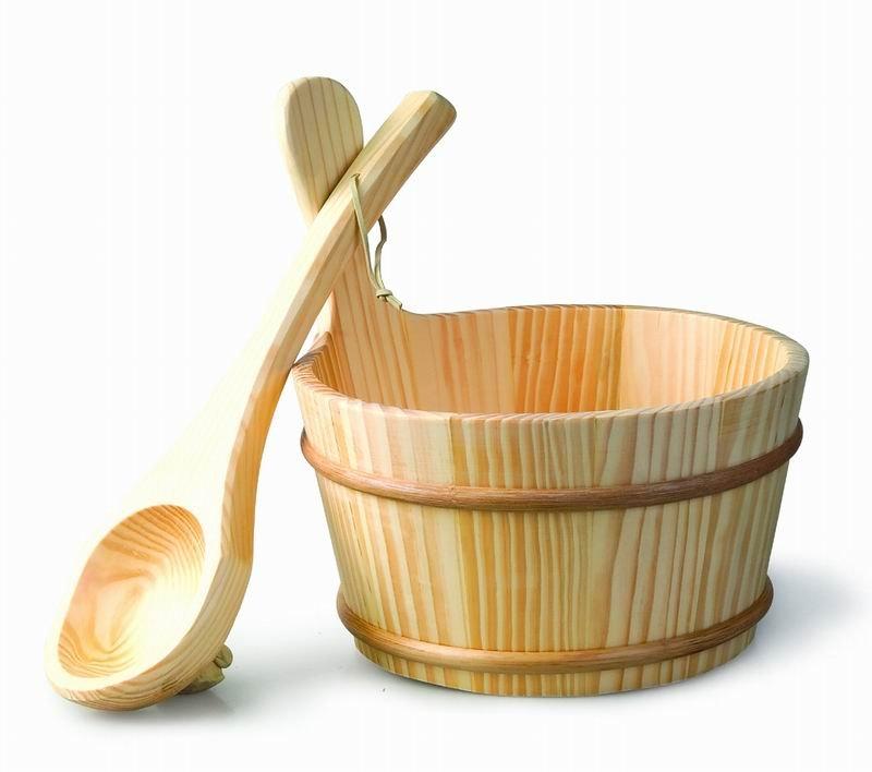 سطل و ملاقه چوبی سونای خشک هایپرپول