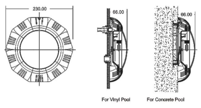 ابعاد چراغ استخر روکار ایمکس مدل tp100